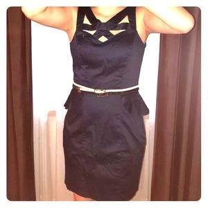 Dresses & Skirts - Indigo Blue Peplum Dress with Detail Belt